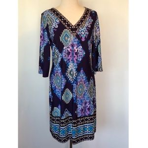 Chico's 3/4 Sleeve Printed Shift Dress *Chico's 1*